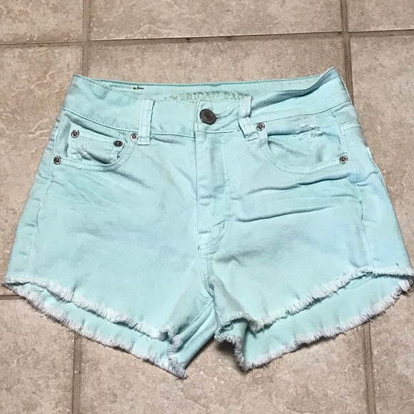 American Eagle Outfitters Pants - SALE AEO distressed Mint Green Denim Cutoff Shorts